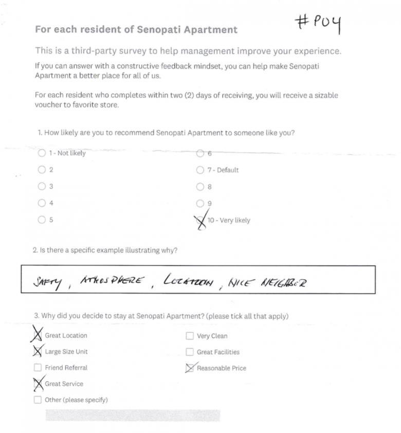 Senopati Apartment Survey Results